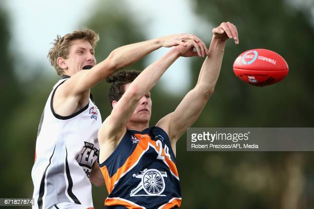 Jacob Mcnicol of the Cannons contests the ball during the round four TAC Cup match between the Northern Knights and the Murray Bushrangers at RAMS...