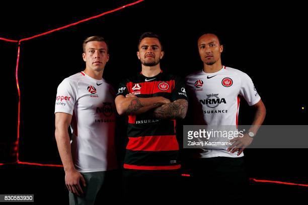 Jacob Melling Josh Risdon and Kearyn Baccus pose during the Western Sydney Wanderers 2017/18 ALeague Season kit launch on August 11 2017 in Sydney...