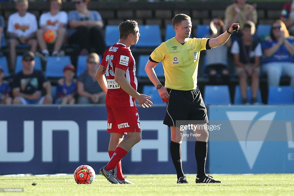 Jacob Melling of Melbourne City is sent off during the round 18 A-League match between the Newcastle Jets and Melbourne City FC at Hunter Stadium on February 7, 2016 in Newcastle, Australia.