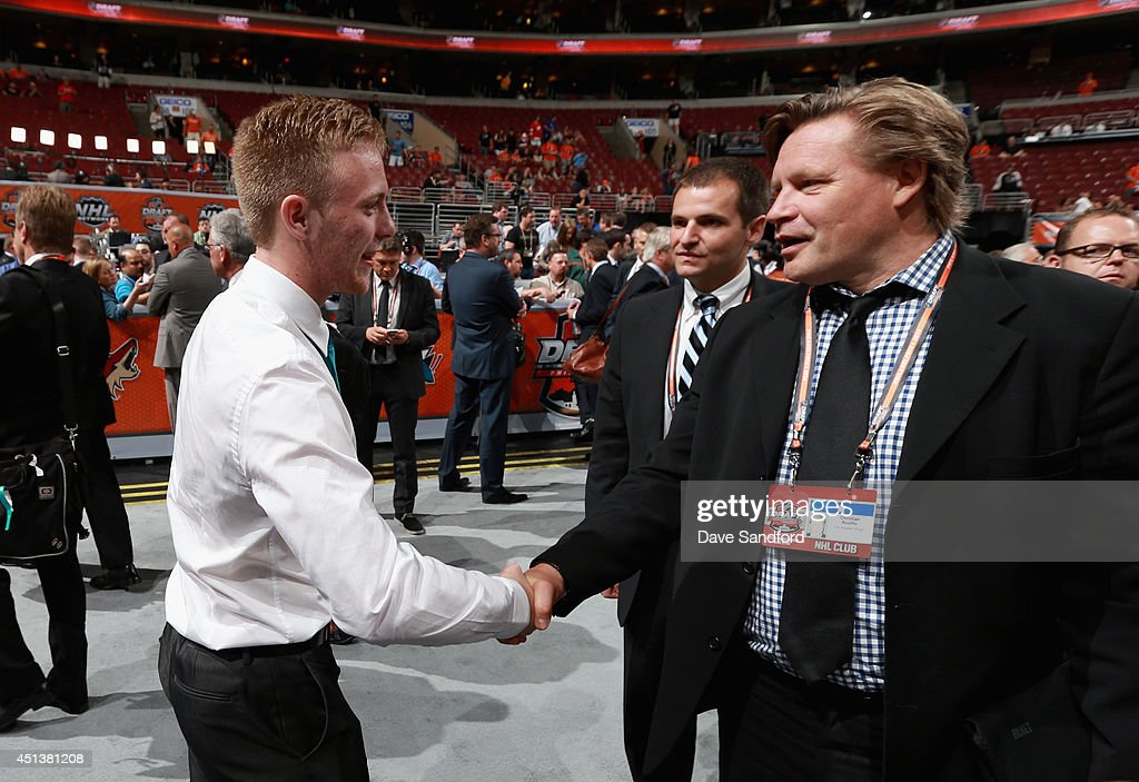 Jacob Middleton greets his team after being selected 210th overall by the Los Angeles Kings during the 2014 NHL Entry Draft at Wells Fargo Center on June 28, 2014 in Philadelphia, Pennsylvania.