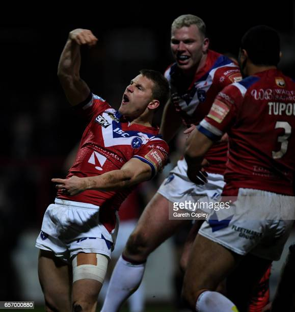 Jacob Miller of Wakefield celebrates scores his second half try during the Betfred Super League match between Wakefield Trinity and Leigh Centurions...