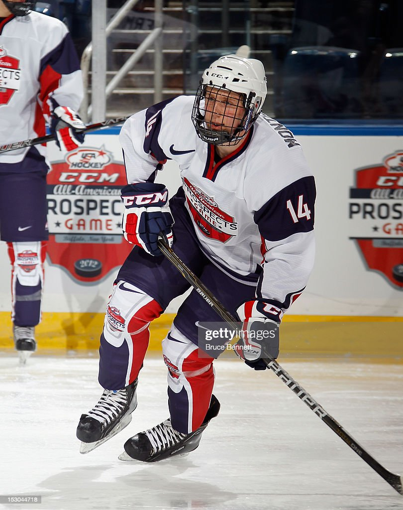 Jacob Montgomery #14 of Team McClanahan takes part in the morning skate prior to the USA Hockey All-American Prospects Game at the First Niagara Center on September 29, 2012 in Buffalo, New York.