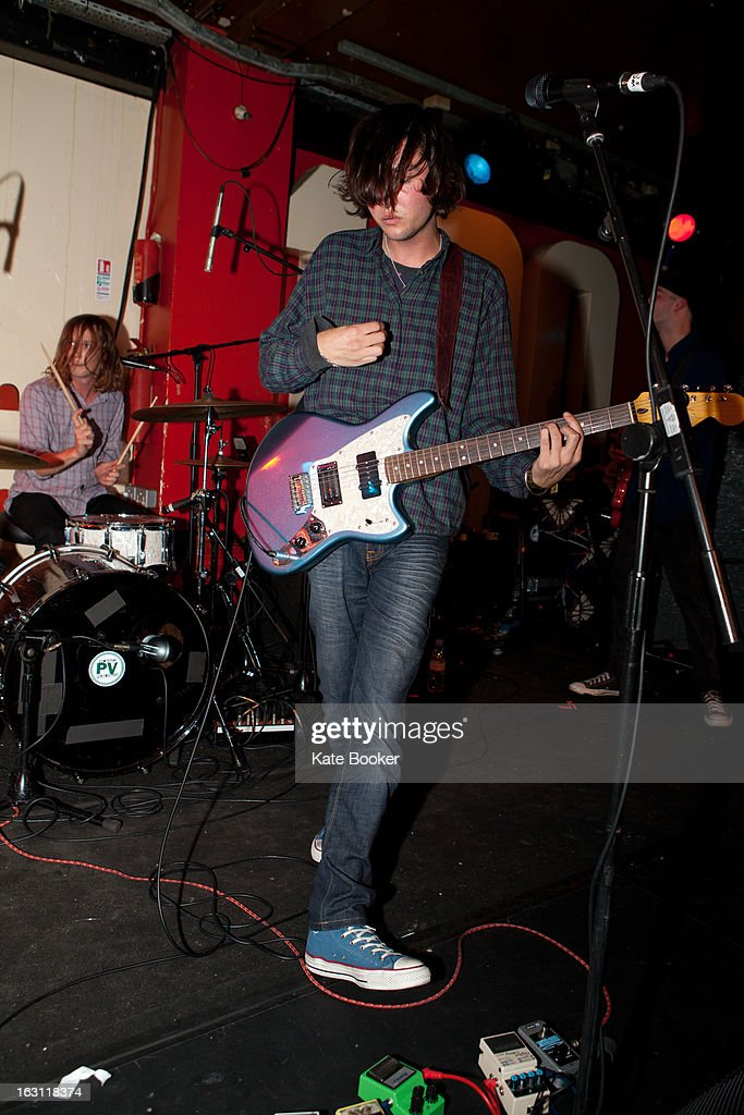 Jacob Moore, Sasha Carlson and Thomas Beal of Splashh support Palma Violets, perform on stage at The 100 Club on March 4, 2013 in London, England.