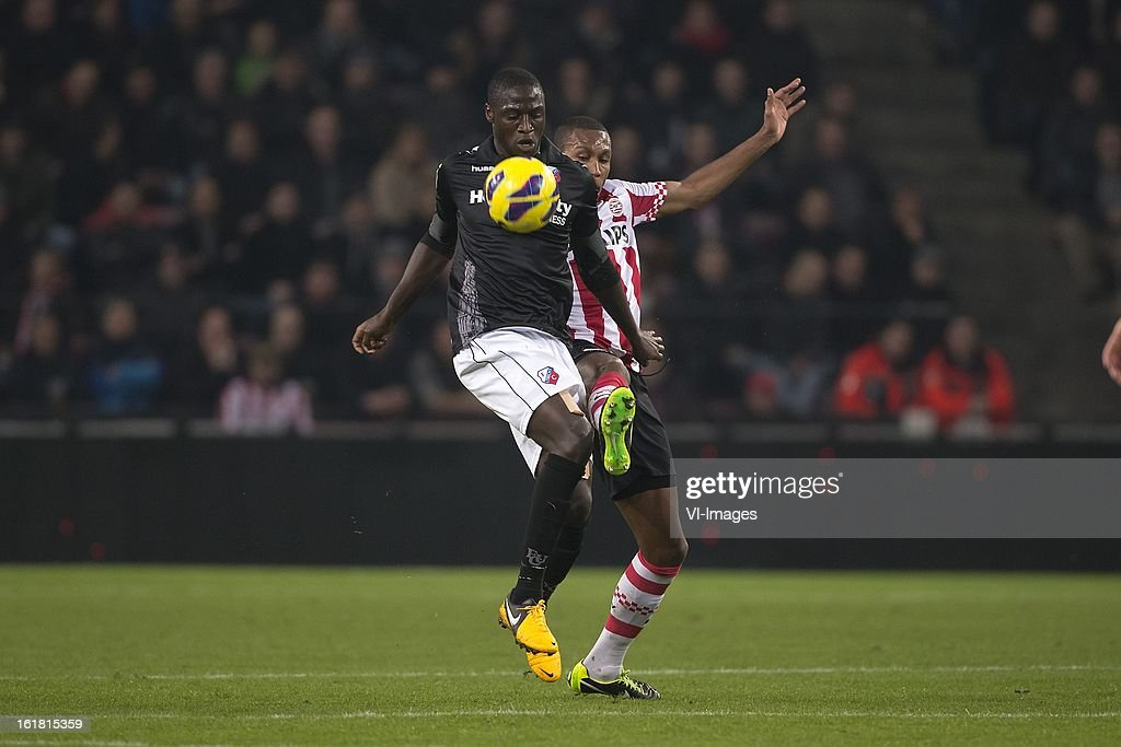 Jacob Mulenga of FC Utrecht, Marcelo Antonio Guedes Filho of PSV during the Dutch Eredivisie match between PSV Eindhoven and FC Utrecht at the Philips Stadium on february 16, 2013 in Eindhoven, The Netherlands
