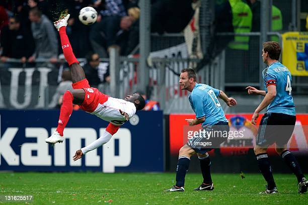Jacob Mulenga of FC UtrechtAndre Ooijer of Ajax during the Dutch Eredivisie match between FC Utrecht and Ajax Amsterdam at De Galgenwaard November 6...