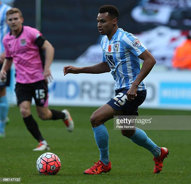 Jacob Murphy of Coventry City in action during The Emirates FA Cup First Round match between Coventry City and Northampton Town at Ricoh Arena on...