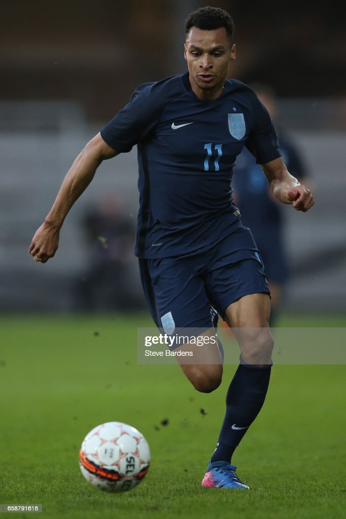 Jacob Murphy of England in action during the U21 international friendly match between Denmark and England at BioNutria Park on March 27, 2017 in Randers, Denmark.