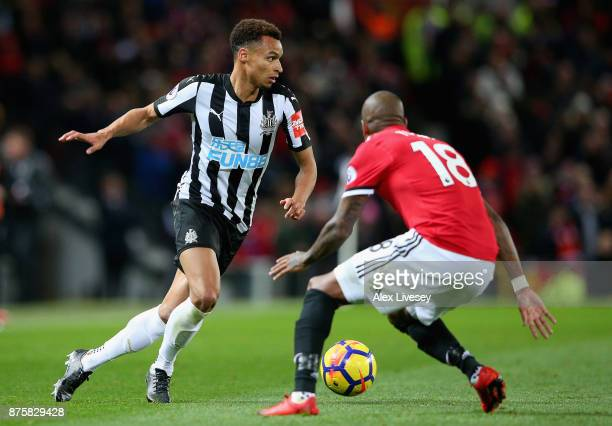 Jacob Murphy of Newcastle United and Ashley Young of Manchester United in action during the Premier League match between Manchester United and...