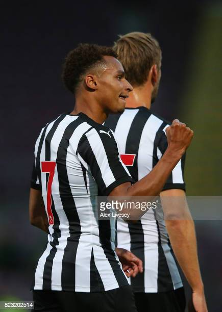 Jacob Murphy of Newcastle United celebrates after scoring his second goal during a preseason friendly match between Bradford City and Newcastle...