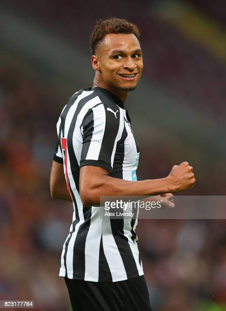 Jacob Murphy of Newcastle United celebrates after scoring the second goal during a preseason friendly match between Bradford City and Newcastle...