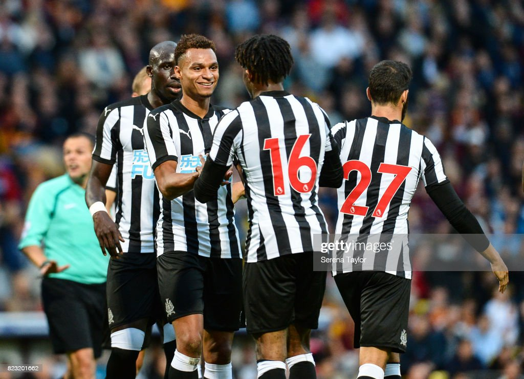 Jacob Murphy of Newcastle United (L) celebrates with teammates after scoring Newcastle's fourth goal during the the Pre Season Friendly between Bradford City and Newcastle United at the Northern Commercials Stadium on July 26, 2017, in Bradford, England.