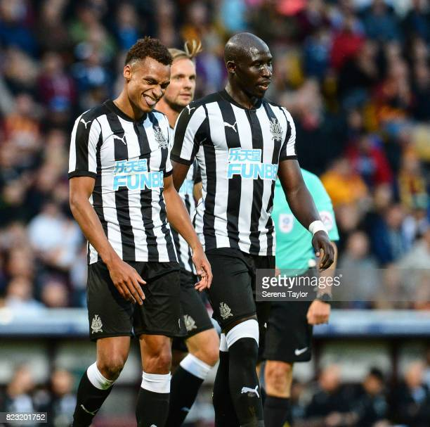 Jacob Murphy of Newcastle United celebrates with teammates after scoring Newcastle's fourth goal during the the Pre Season Friendly between Bradford...