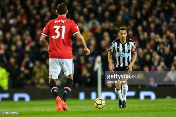 Jacob Murphy of Newcastle United runs with the ball during the Premier League match between Manchester United and Newcastle United at Old Trafford on...