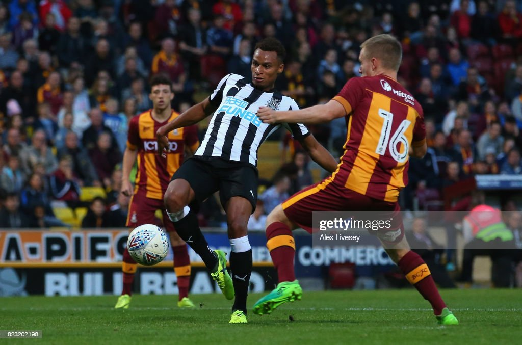 Jacob Murphy of Newcastle United scores his second goal during a pre-season friendly match between Bradford City and Newcastle United at Northern Commercials Stadium on July 26, 2017 in Bradford, England.