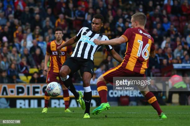 Jacob Murphy of Newcastle United scores his second goal during a preseason friendly match between Bradford City and Newcastle United at Northern...