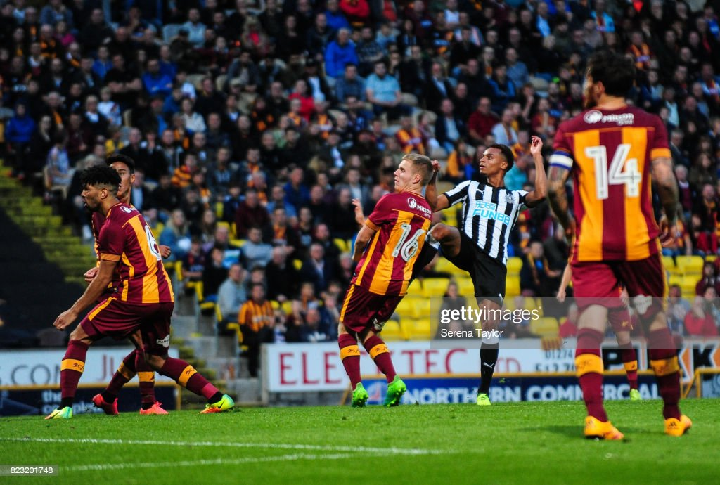 Jacob Murphy of Newcastle United (C)scores Newcastle's fourth goal during the the Pre Season Friendly between Bradford City and Newcastle United at the Northern Commercials Stadium on July 26, 2017, in Bradford, England.