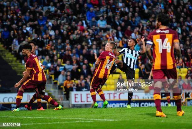 Jacob Murphy of Newcastle United scores Newcastle's fourth goal during the the Pre Season Friendly between Bradford City and Newcastle United at the...