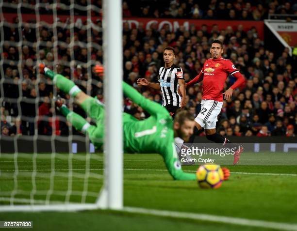 Jacob Murphy of Newcastle United shoots and misses during the Premier League match between Manchester United and Newcastle United at Old Trafford on...