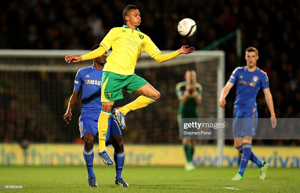 Jacob Murphy of Norwich City controls the ball during the FA Youth Cup Final First Leg match between Norwich City and Chelsea at Carrow Road on April 29, 2013 in Norwich, England.