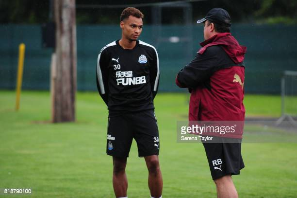 Jacob Murphy speaks with Newcastle United's Manager Rafael Benitez during the Newcastle United Training session at Carton House on July 19 in...