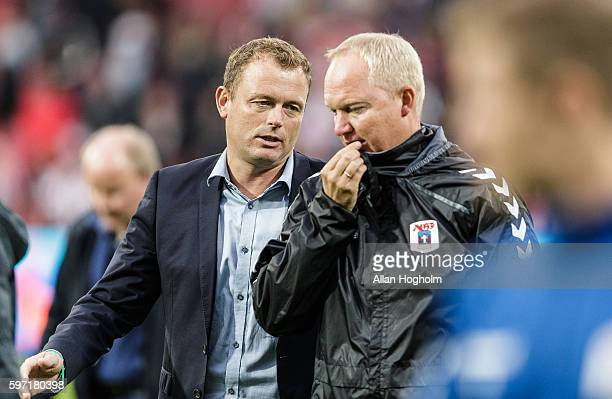 Jacob Nielsen CEO of AGF and Glen Riddersholm head coach of AGF looks dejected after the Danish Alka Superliga match between AaB Aalborg and AGF...