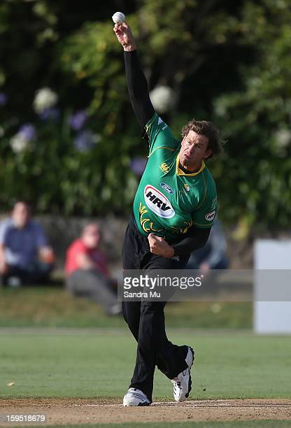 Jacob Oram of the Stags bowls during the HRV Cup Twenty20 match between the Auckland Aces and the Central Stags at Eden Park on January 15 2013 in...