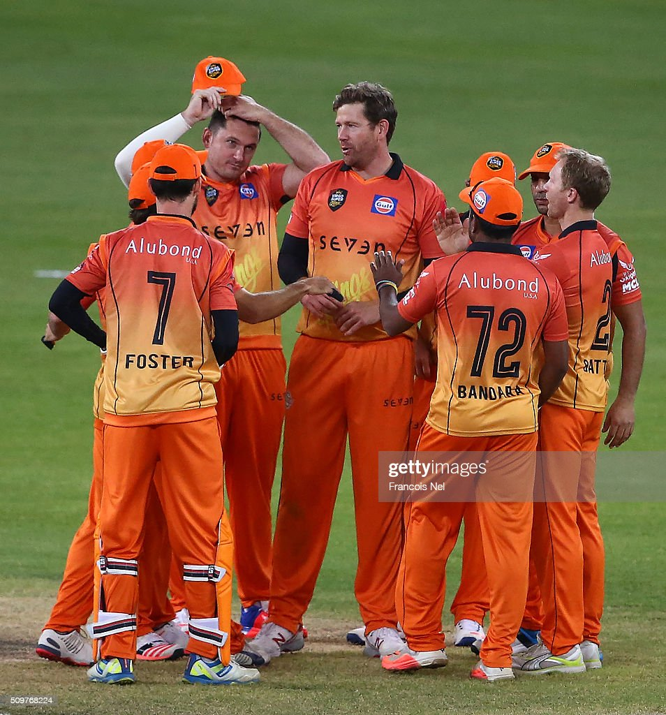 <a gi-track='captionPersonalityLinkClicked' href=/galleries/search?phrase=Jacob+Oram&family=editorial&specificpeople=171456 ng-click='$event.stopPropagation()'>Jacob Oram</a> of Virgo Super Kings celebrates with his team-mates after dismissing Hamish Marshall of Leo Lions during the Oxigen Masters Champions League Semi Final match between Leo Lions and Virgo Super Kings at Dubai International Cricket Stadium on February 12, 2016 in Dubai, United Arab Emirates.