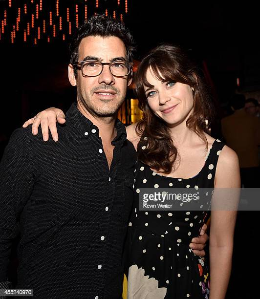 Jacob Pechenik and actress Zooey Deschanel pose at the after party for the premiere of Roadside Attractions' 'The Skeleton Twins' at The Argyle on...