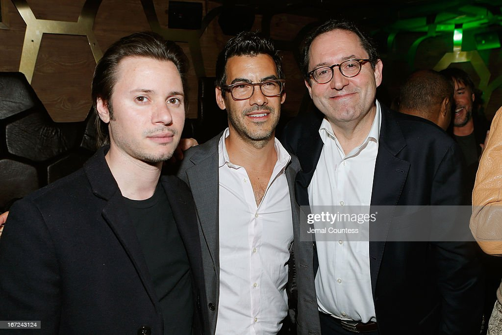 Jacob Pechenik (C) and Michael Barker attend the Tribeca Film Festival 2013 After Party 'Before Midnight' sponsored by Heineken on April 22, 2013 in New York City.