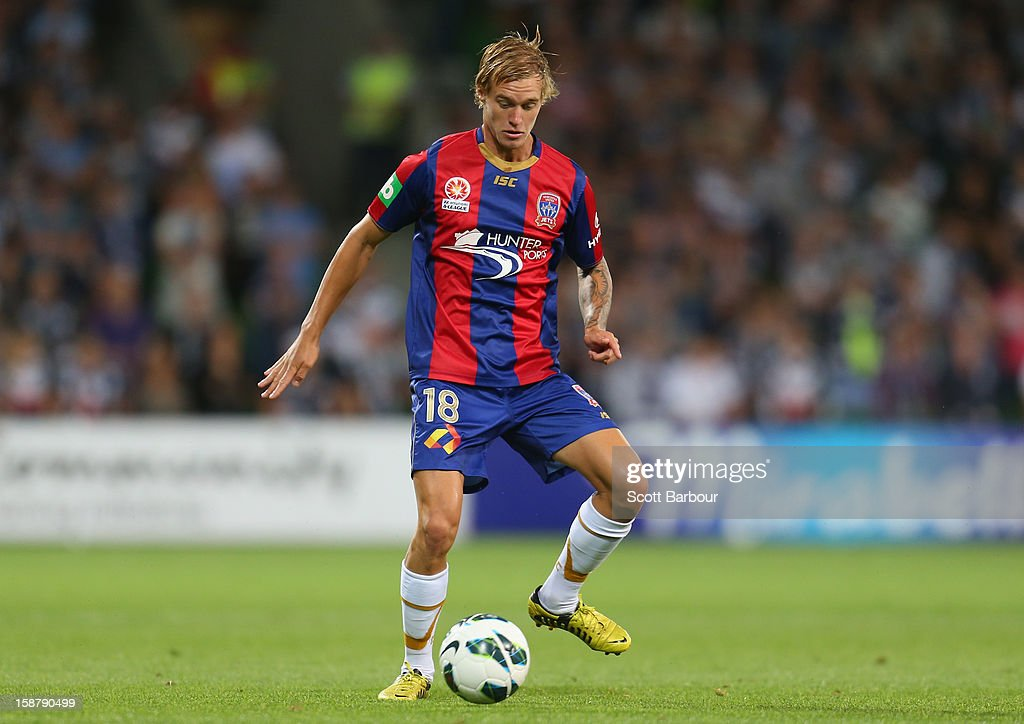Jacob Pepper of the Jets controls the ball during the round 13 A-League match between the Melbourne Victory and the Newcastle Jets at AAMI Park on December 28, 2012 in Melbourne, Australia.