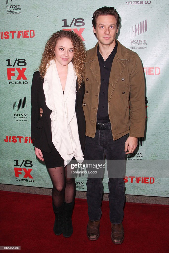 Jacob Pitts (R) and Shelby Malone attend the FX's 'Justified' season 4 premiere held at Paramount Theater on the Paramount Studios lot on January 5, 2013 in Hollywood, California.