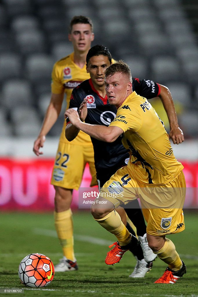 Jacob Poscoliero of the Mariners in action during the round 19 A-League match between the Central Coast Mariners and Adelaide United at Central Coast Stadium on February 14, 2016 in Gosford, Australia.