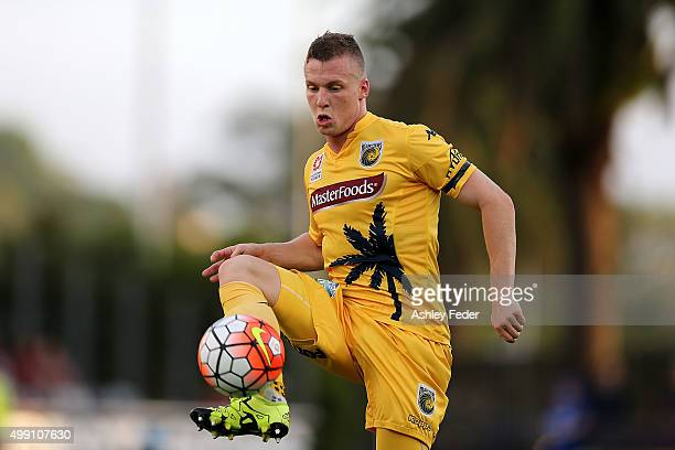 Jacob Poscoliero of the Mariners in action during the round eight ALeague match between the Central Coast Mariners and the Western Sydney Wanderers...