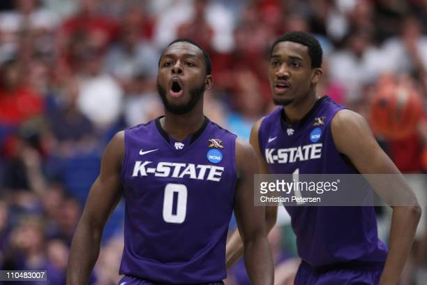 Jacob Pullen of the Kansas State Wildcats celebrates after a breakaway layup against the Wisconsin Badgers in the second half during the third round...