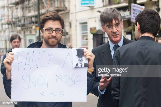 Jacob ReesMogg MP for North East Somerset is met by protestors ahead of a talk called Faith in the Future at the Cornerstone Church on September 29...