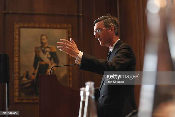 Jacob ReesMogg MP speaks during a 'Bruges Group' press conference at on May 17 2016 in London England The event focused on the issues surrounding the...