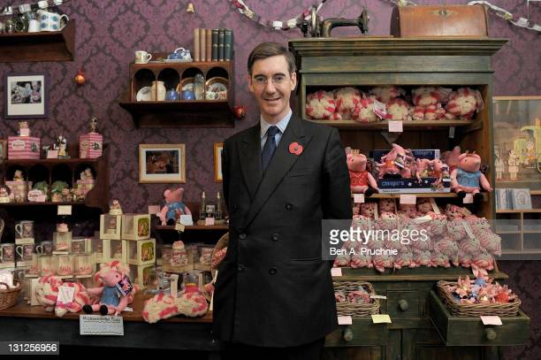 Jacob ReesMogg visits the new Bagpuss Popup Shop at Whitelys Shopping Centre on November 3 2011 in London England