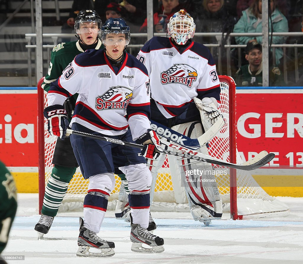 Jacob Ringuette #79 of the Saginaw Spirit skates in an OHL game against the London Knights on January 4, 2013 at the Budweiser Gardens in London, Canada. The Knights defeated the Spirit 8-2.