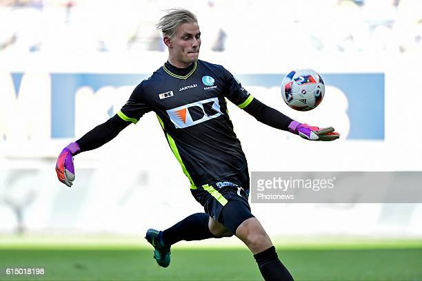 Jacob Rinne goalkeeper of KAA Gent shoots the ball during the Jupiler Pro League match between KAA Gent and SV Zulte Waregem in the Ghelamco Arena...