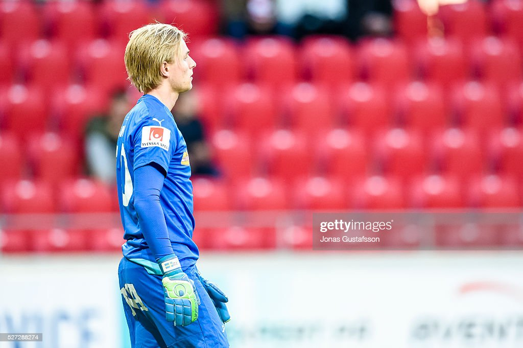 Jacob Rinne goalkeeper of Orebro SK dejected during the Allsvenskan match between Kalmar FF and Orebro SK at Guldfageln Arena on May 2, 2016 in Kalmar, Sweden.
