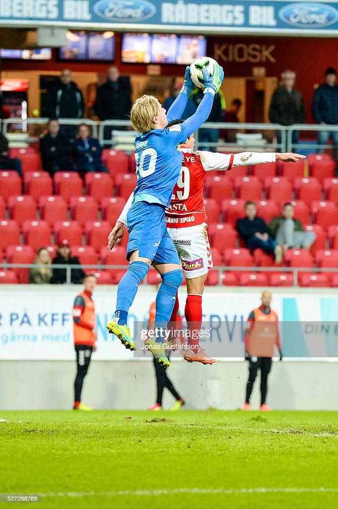 Jacob Rinne goalkeeper of Orebro SK saving the ball during the Allsvenskan match between Kalmar FF and Orebro SK at Guldfageln Arena on May 2, 2016 in Kalmar, Sweden.