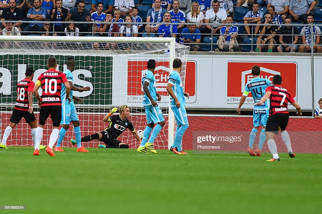 Jacob Rinne is beaten by a free kick of Besart Ibraimi for 01 during the Uefa Europa League match between KAA Gent and KF Shkendija In the Ghelamco...