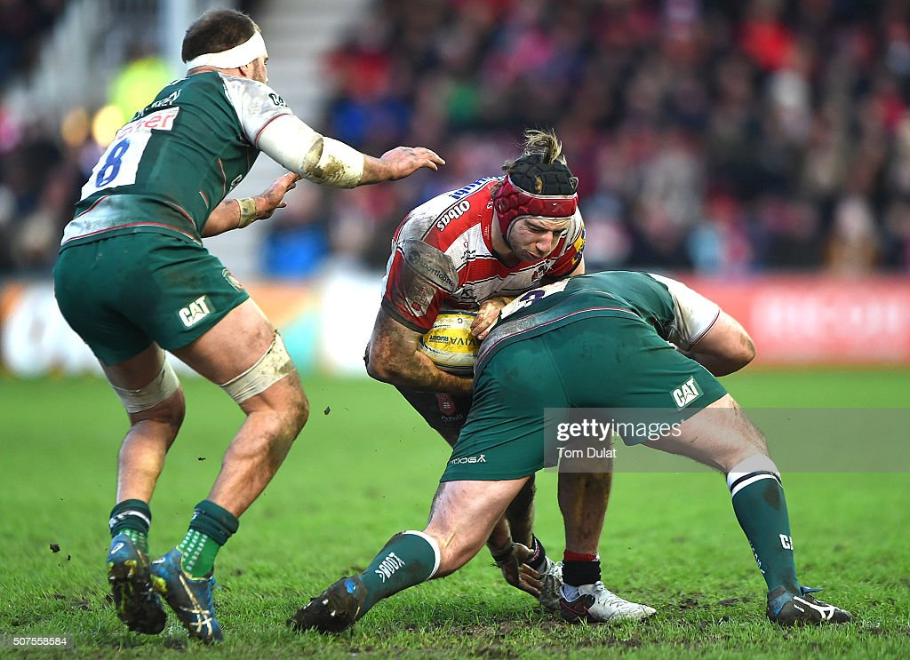 Jacob Rowan of Gloucester Rugby in action during the Aviva Premiership match between Gloucester Rugby and Leicester Tigers at Kingsholm Stadium on...
