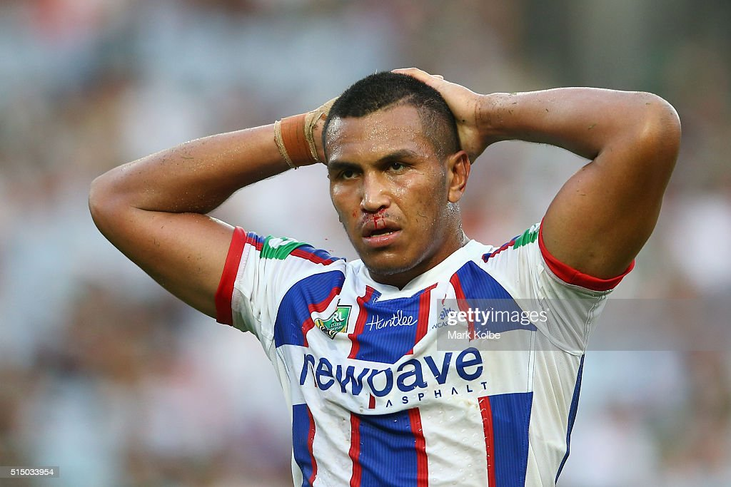 Jacob Safiti of the Knights looks dejected during the round two NRL match between the South Sydney Rabbitohs and the Newcastle Knights at ANZ Stadium on March 12, 2016 in Sydney, Australia.