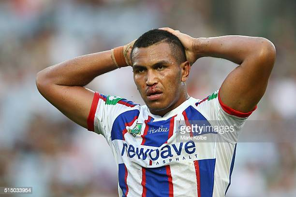 Jacob Safiti of the Knights looks dejected during the round two NRL match between the South Sydney Rabbitohs and the Newcastle Knights at ANZ Stadium...