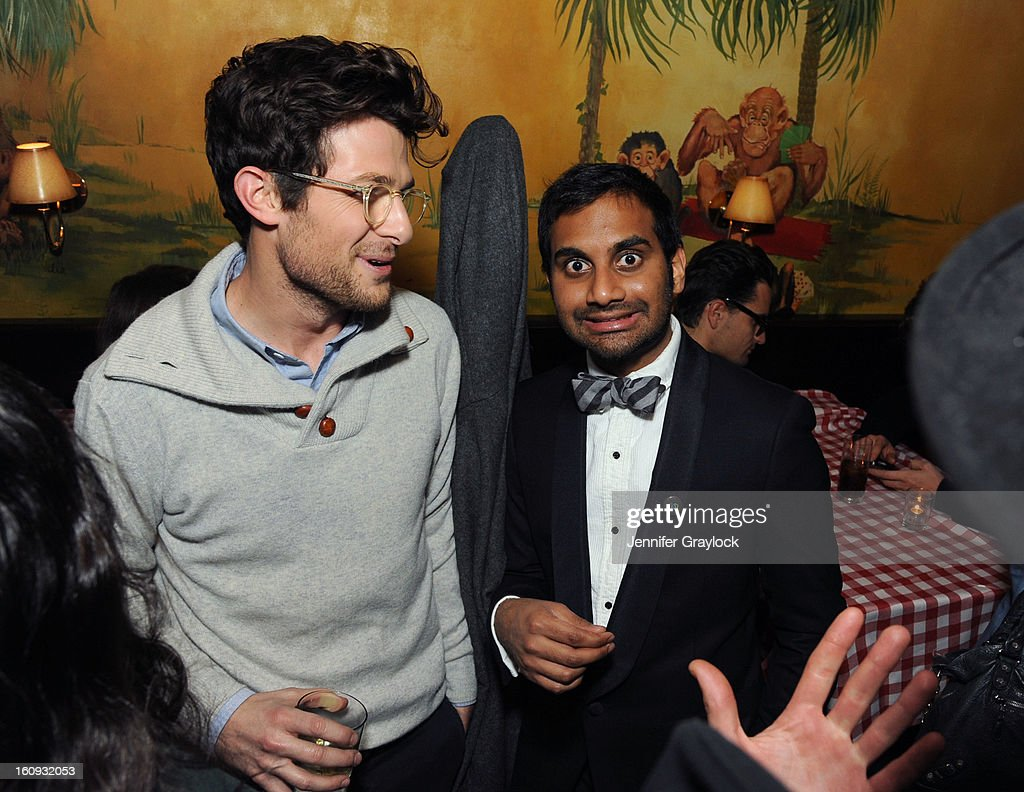 Jacob Soboroff and Aziz Ansari attend the Band Of Outsiders Fashion Week Mens Collection After Party held at the Monkey Bar on February 7, 2013 in New York City.