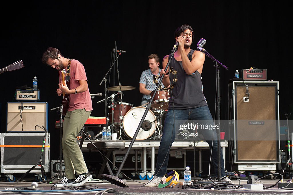 Jacob Tiley and Sameer Gadhia of Young the Giant performs during the 2012 Firefly Music Festival at The Woodlands on July 21, 2012 in Dover, Delaware.