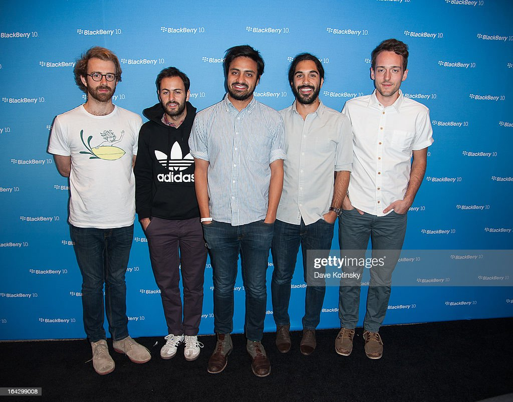 Jacob Tilley, Eric Cannata, Sameer Gadhia, Payam Doostzadeh and Francois Comtois of Young The Giant attend BlackBerry Z10 Launch Event at Best Buy Theater on March 21, 2013 in New York City.
