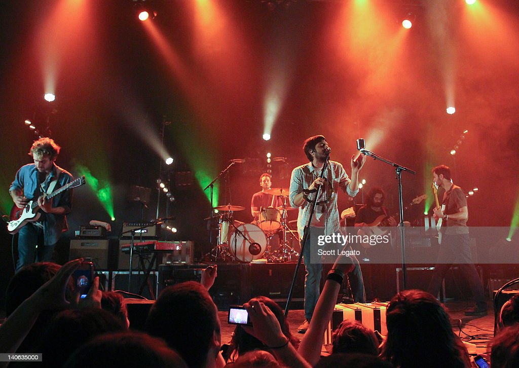 Jacob Tilley, Sameer Gadhia and Payam Doostzadeh of Young The Giant performs at the Majestic Theater on February 28, 2012 in Detroit City.