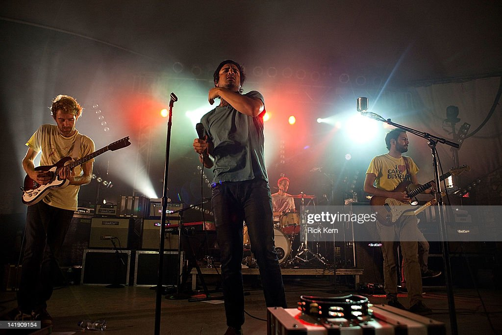 Jacob Tilley, Sameer Gadhia, François Comtois, and Eric Cannata of Young the Giant perform at Stubb's Bar-B-Q on March 25, 2012 in Austin, Texas.